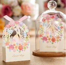 Boda romántica caja de regalo elegante decoración de lujo novia de la flor partido de corte láser dulce favores de la boda caja de dulces de papel(China (Mainland))