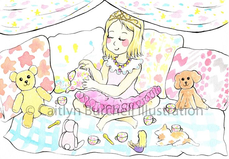 A princess tea party! Art by Caitlyn Burchell Illustration