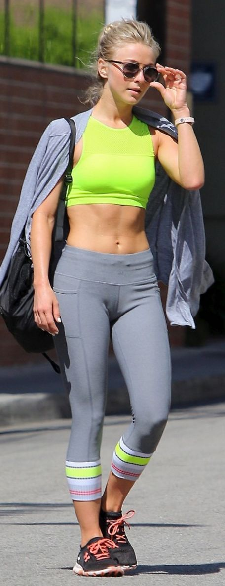 Who made  Julianne Hough's gray pants and neon yellow top?