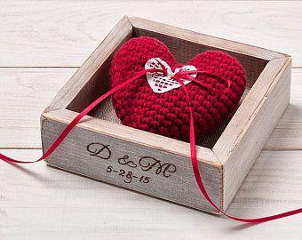 Anillo de bodas anillo soporte anillo rústico caja Anillo almohada soporte boda ceremonia boda propuesta anillo caja para recuerdo de novia y el novio caja de madera
