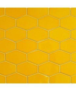 Orange 5x3 Ceramic Stretched Hex Tile Goldfish | Modwalls Designer Tile