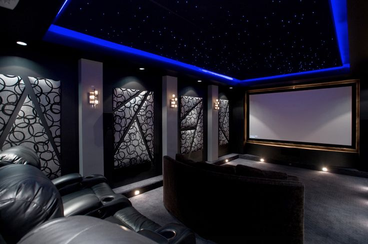 Contemporary Home Theater with starscape ceiling