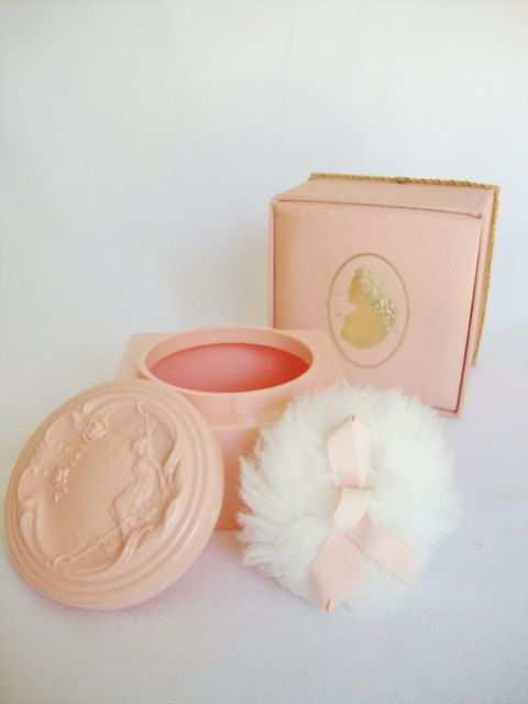 vintage vanity pink powder box pink white shoulders.  I still wear White Shoulders today.  It's not as easy to find.