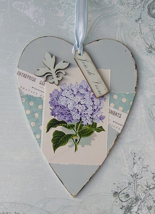 Vintage wooden heart tag