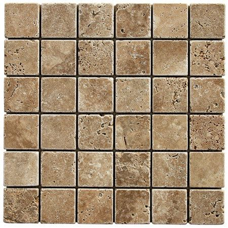 Tumbled travertine noce 2x2 glass tiles tile stores and tile for Tumbled glass tile