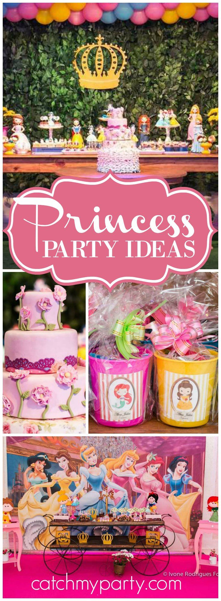 All of the Disney princesses are featured at this beautiful birthday party! See more party ideas at CatchMyParty.com!