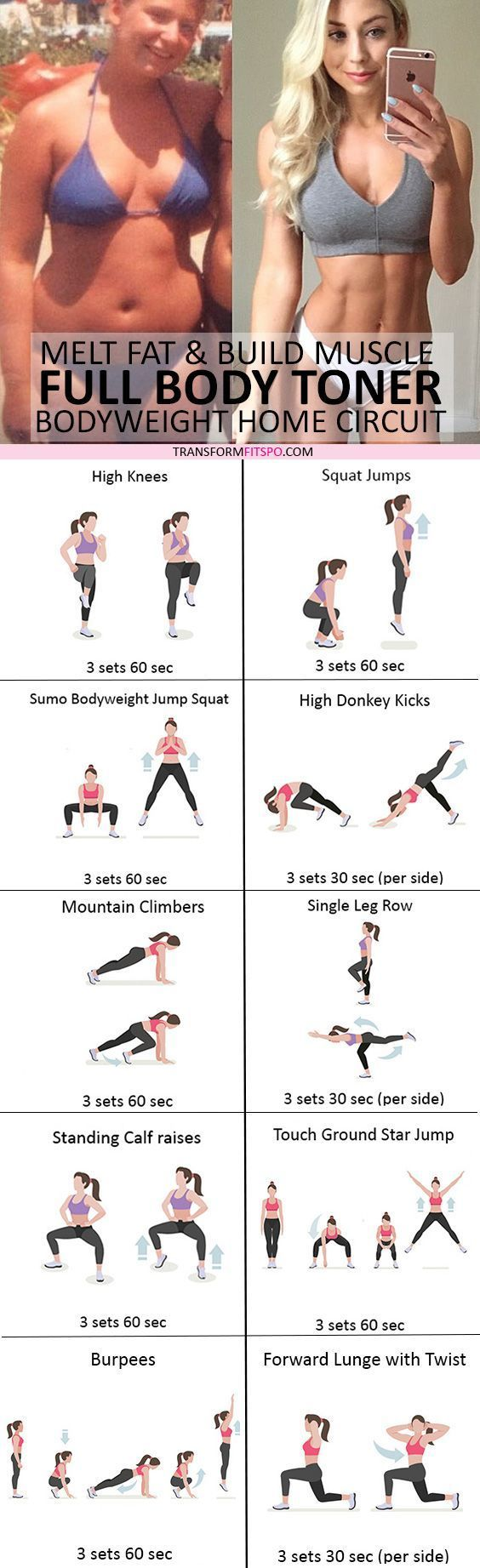 🏡 Full Body Tone and Strengthen: Bodyweight Home Workout to Melt Fat and Build Toned Muscle