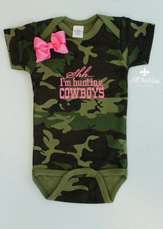 Baby Girls Embroidered Bodysuit with Bow Set - Shh... I'm Hunting Cowboys -Baby Shower Gift - Creeper - Camo - Camouflage - Pink - Cowgirl
