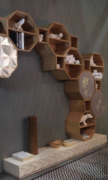 Sectional wooden storage wall PANDORA by Bizzotto