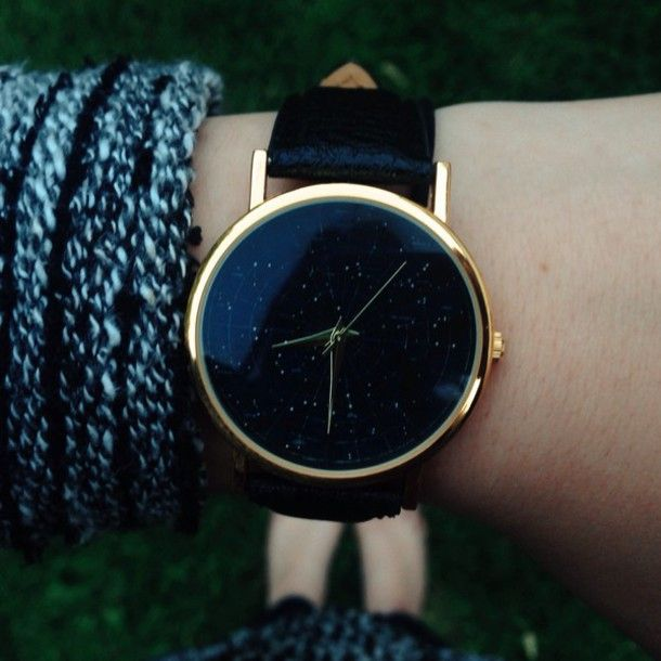 Jewels: stars, watch, constellation, leather watches, womens watches, nail accessories, nail polish, college, etsy, constellations, black, gold, cool, black watch, gold watch, cute watch, clock, women, galaxy print, white, purple, moon, cute, jewelry, nice, beautiful, dark, minimalist jewelry, dress - Wheretoget