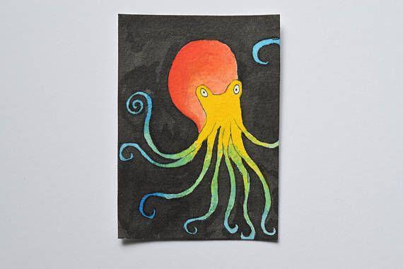 Original ACEO ATC: Colourful Octopus mixed media. MelanieReevesArt Etsy