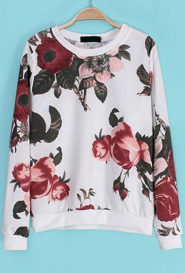 White Long Sleeve Floral Loose Sweatshirt - Sheinside.com