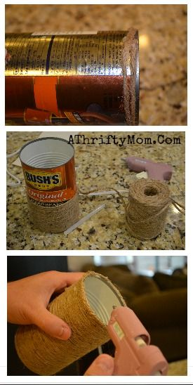 Fall flower vase made out of a tin can and jute twine, made the whole thing for under a dollar. Fall Craft ideas, great for Super saturday projects #DIY, #Crafts
