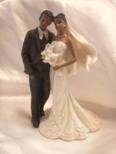"Black African American Bride and Groom Cake Top Wedding Figurine 6"" Tall 