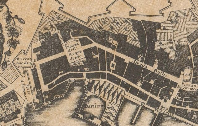 "C'ERA UNA VOLTA GENOVA -  part of the Map of Giacomo Brusco - 1766 - (dalla raccolta del Giolfi a Palazzo Rosso - ufficio Belle Arti). The railway station ""Principe"" will take place from left side of ""Piazza dell'Acqua Verde"" toward west unill the city wall and the ""porta di S. Tommaso"" (St.Thomas Gate). Both the wall and the gate will be destroyed to leave the space to the railway."