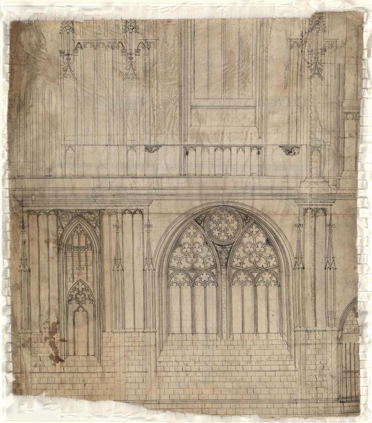 rys průčelí přízemí jižní věže katedrály sv. Víta, Petr Parléř, druhá pol. 14. století.