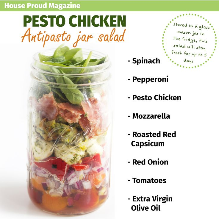 Pesto Chicken Salad in a jar, have you ever heard of anything more genius?! Designed by House Proud Magazine.