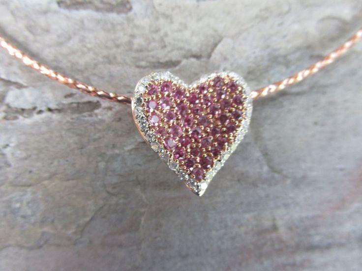 13 best heart pendants images on pinterest heart pendants 14k rose gold pink sapphire diamond pave heart pendant aloadofball Image collections