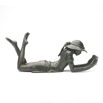 Jonathan Sanders Wedgwood Museum bronze Large Lying Girl Sculpture.  20.5cm long.