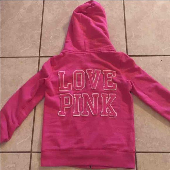 Victoria's Secret PINK zip up hoodie Pink zip up hoodies very warm and comfortable. Victoria's Secret PINK. Has piling and some wear on hand/arm ring. Shown in last pic. It's in great used condition and has a lot of life left in it! Victoria's Secret Sweaters