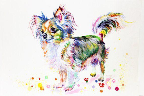 Chihuahua Canvas Print Art Print Dog Poster Watercolor Painting Dog Painting Chihuahua Illustrati Chihuahua Art Watercolor Dog Dog Poster