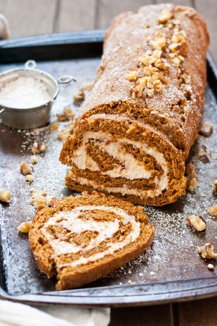 This Gingerbread Cake Roll with Eggnog Cream Cheese Filling is the perfect Christmas dessert!
