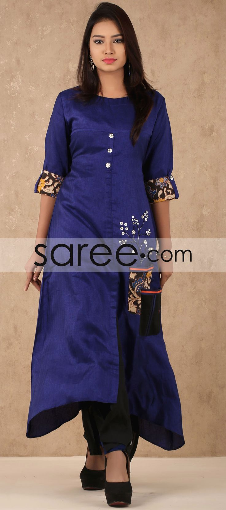 Blue and Black Cotton Silk Designer Kurti