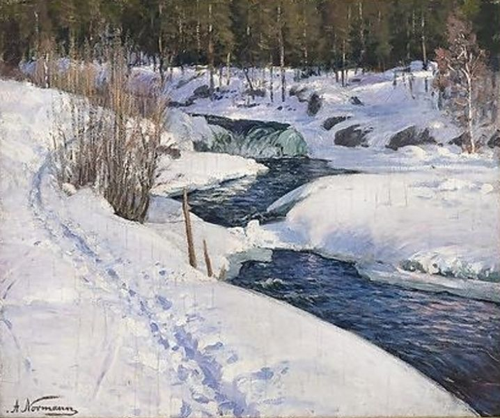Adelsteen Normann - Winter Landscape with open river