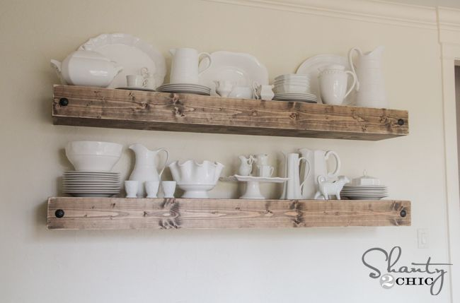DIY Floating Shelves with  hutch underneath | Thanks so much for stopping by guys! I cannot wait to show you the ...