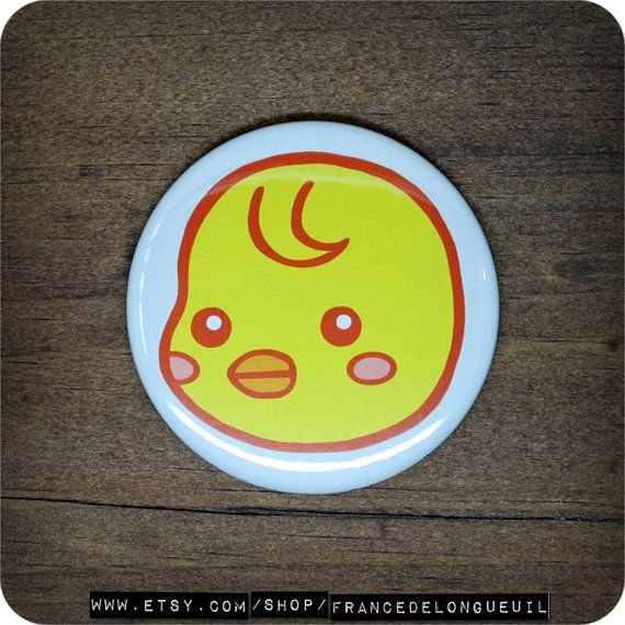 2.25 inches Cute chick  Button  Magnet  by FranceDeLongueuil