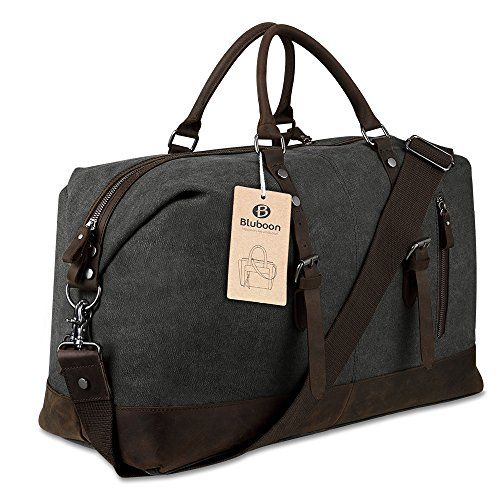 BLUBOON Travel Duffel Bag Canvas Leather Overnight Bag (Black)