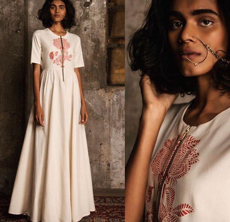 Natasha j# Indian fashion # Anarkali love # flower print # earthy collection
