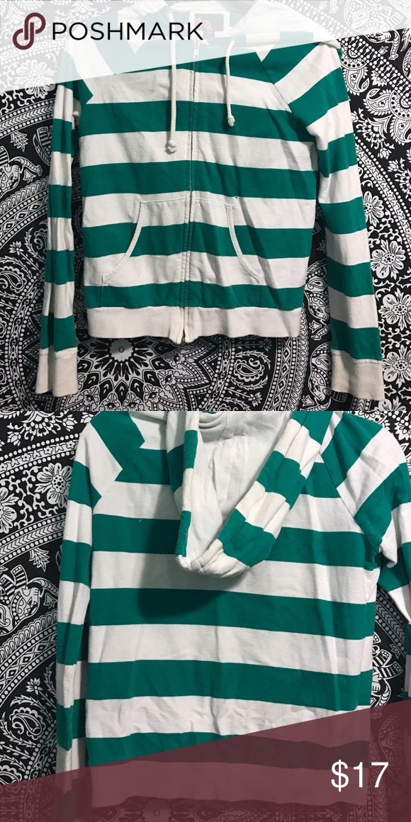 Green & white striped zip up !OBO! green & white striped zip up hoodie 21 Tops Sweatshirts & Hoodies
