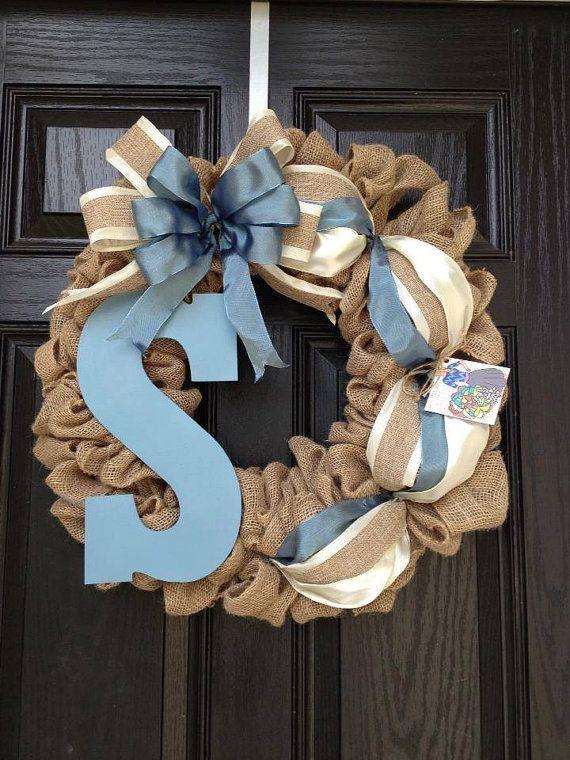 Burlap wreath // monogram letter // slate blue // cream // 24inch