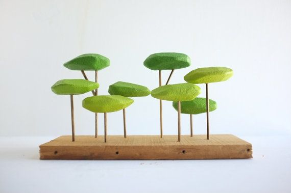 Tabletop stylized forest in shades of green Japanese by 2of2, $42.50