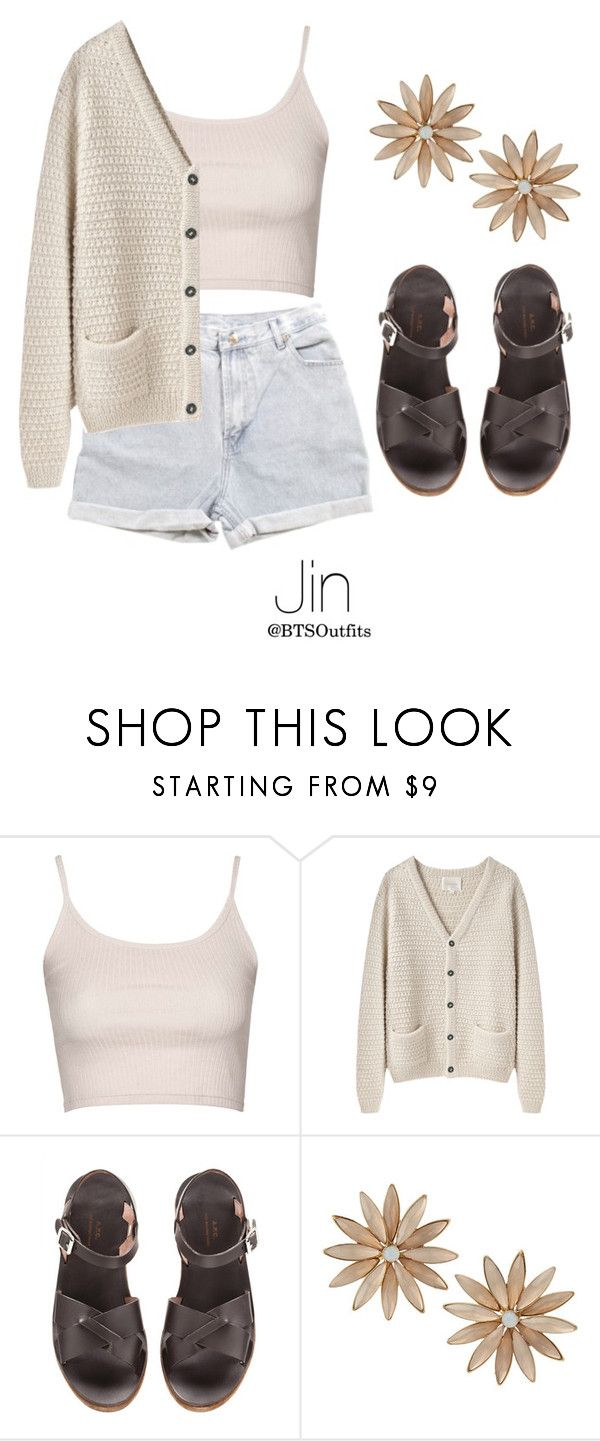 """""""Picking Fruit with Jin"""" by btsoutfits ❤ liked on Polyvore featuring Levi's, Topshop, La Garçonne Moderne, A.P.C. and R.J. Graziano"""