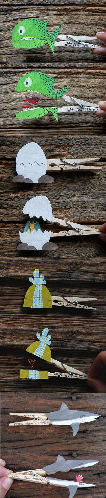 Clothes pegs make fun puppets for little ones!