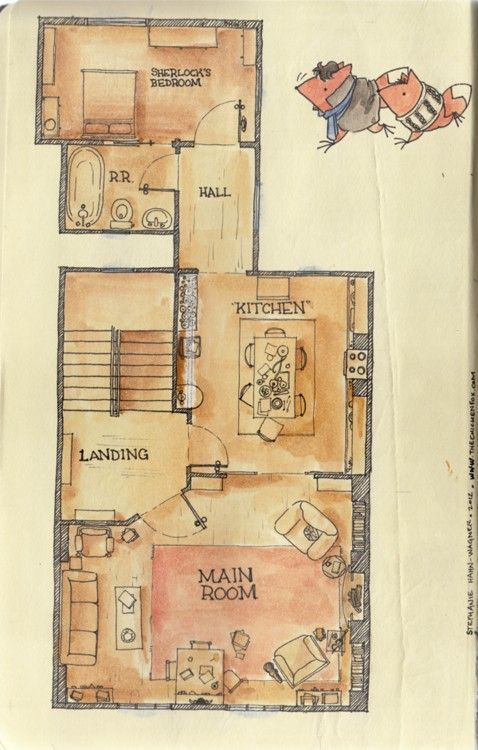 221b Baker Street. I checked my internal maps of the flat and can confirm this floorplan's accuracy. I'll let the distance between and angle of Sherlock and John's chairs slide. ;)  Perfect ~