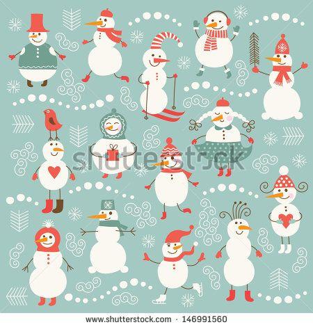 Set of cute snowman