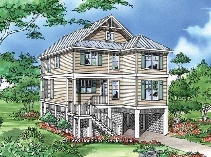 25 best images about beachfront house plans on pinterest for Coastal craftsman house plans