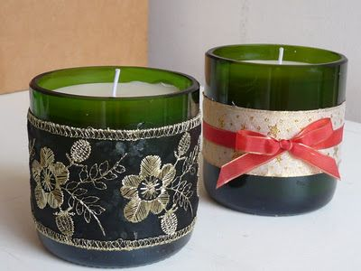 Recycling Wine Bottles and Candles #recycling