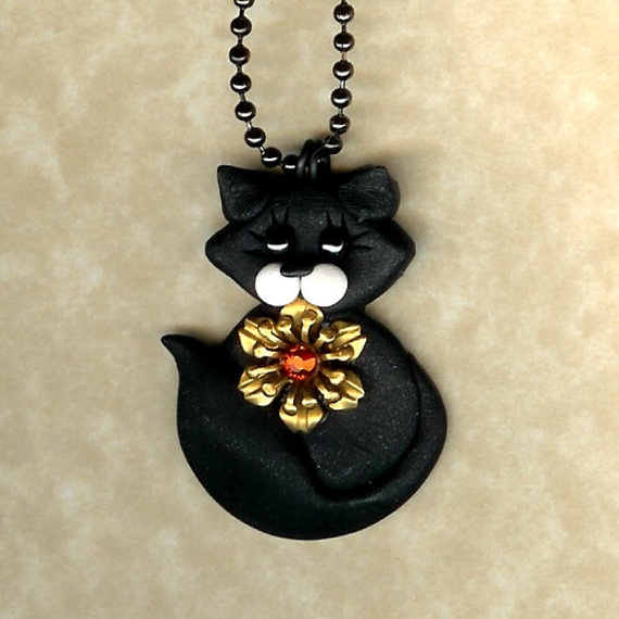 Black Kitty Cat Necklace Polymer Clay Jewelry by Freeheart1, $14.00