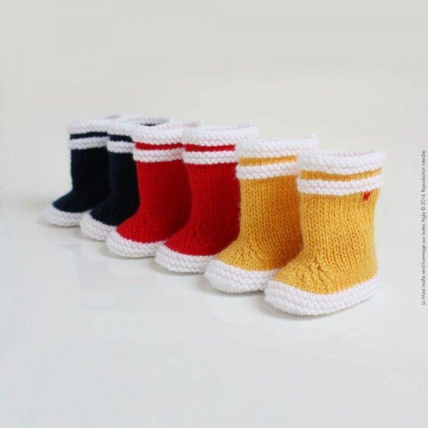Bottes de marin maille bébé laine jaune hommage à Aigle