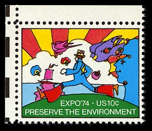 Have in my collection.    Peter Max is an evironmentalist.Commemorative Expo, Petermax, Expo 74, Peter O'Tool, Art, Peter Max, Max Stamps, Stamps Design, Postage Stamps