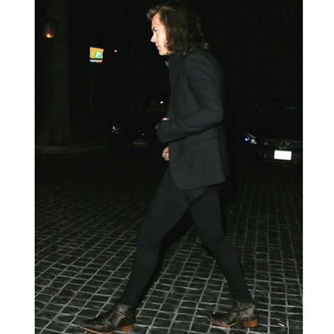 Saint Laurent Classic Single Breasted Jacket in Black Wool Gabardine & Brown Calf Hair Wyatt 40 Ankle Boots in Leopard Print.....Harry Styles, Cecconis Restaurant, 15.4.15. #saintlaurent#saintlaurentparis  #hedislimane#slp#ysl#gabardine #jacket#wyatt#40#calf#hair#ysl #boots#also#featuring#paigejean #paigedenim#harrystyles#harry #styles#cecconisrestaurant#2015