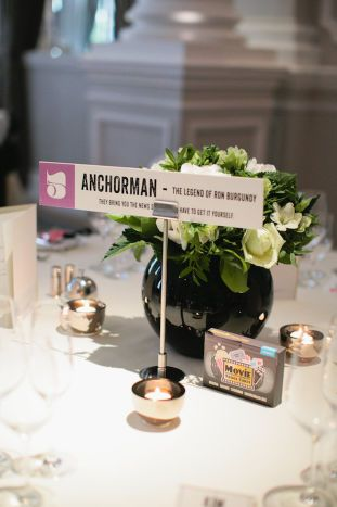 Movie themed wedding featuring Vintage Designs Wedding Day Stationery- table names