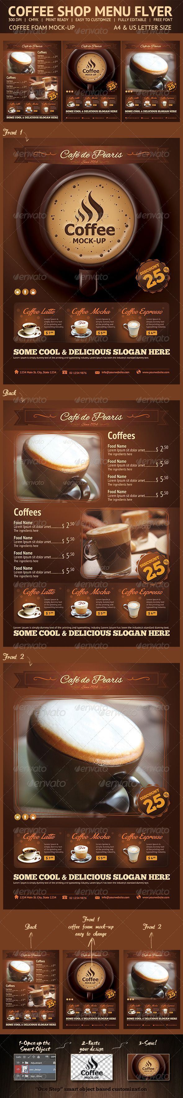 "Coffee Menu Flyer   Coffee Shop Menu Flyer Template.  Included all objects.  Features  Sizes – Letter (8,5×11"")+bleed – A4(8,25×11,7)+bleed 2 Different Front Page Fully editable Photoshop Easy to customize CMYK High Quality 300 DPI Highly Organised Layers Print Ready"