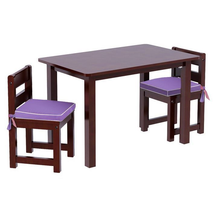Maxtrix Kids Play Table with Two Small Chairs with Reversible Purple/ Pink Seat Pads (Chestnut (Brown))