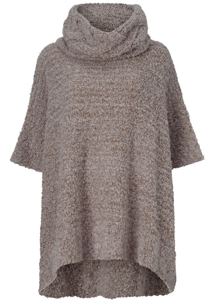 Gustav Poncho gråbrun 20810 Knitted Poncho - 9642 animal fur – Acorns