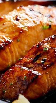 Grilled Browned Butter Honey Garlic Salmon #hearthealthyfishrecipes
